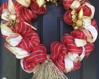 Red and Gold Christsmas Wreath
