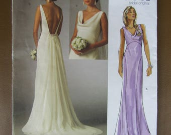 Vogue pattern V2965 elegant wedding gown 3 sizes available