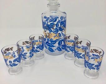 Vintage Luminarc Decanter and 6 stemmed cordial glasses