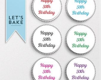 ANY AGE PRINTED Happy Birthday,cupcake,cake,birthday cake topper,birthday cupcake topper,edible,birthday gift, birthday present, rice paper