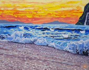 Beach art canvas, sunset oil painting, decorative wall decor, seascape artwork by Ryan Kimba