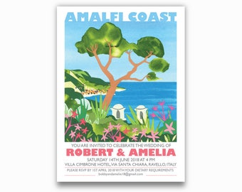 PRINT AT HOME Amalfi Coast, Italy Destination Invites - Single sided.  Ravello, Italian wedding invitations. Tree, landscape, sea view