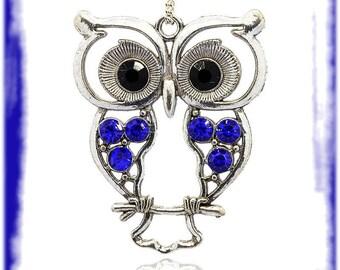 Pendant big Owl obsolete money & Sapphire 1 x 55 mm