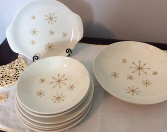 "Royal China "" Star Glow ""ironstone lot of 8 Mid Century pieces"