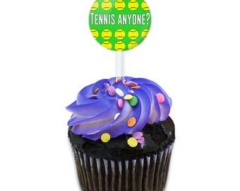 Tennis Anyone Cake Cupcake Toppers Picks Set
