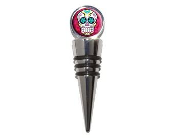 Sugar Skull Wine Bottle Stopper Cork