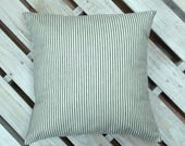 Striped Ticking - Farmhouse Pillow - Organic Cotton - Black and White -  Gray and White - Custom - Oversized Pillow