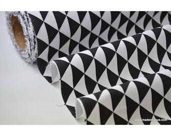 Black cotton fabric printed drawing Argyle x50cm
