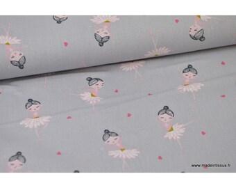 Popeline coton Oeko tex imprimé ballerines fond Gris.x1m