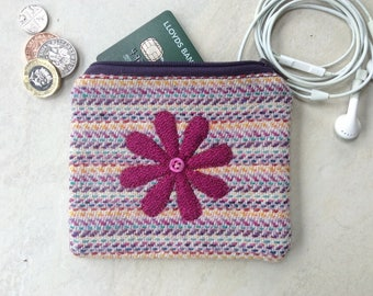 Harris Tweed coin purse, small pouch, purple pink yellow confetti stripes with appliqué pink flower