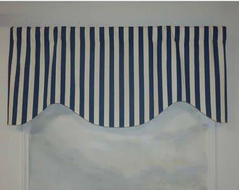 Blue White Nautical Stripe Cotton Beach Theme Valance