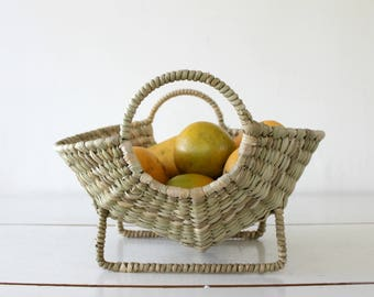 Hand woven basket, natural fibers fruit platter,tray,key dish,modern home decor, minimalist storage box, metal structure. Hostess/host gift.