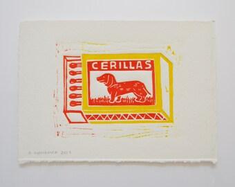 Cerillas - Lino Print