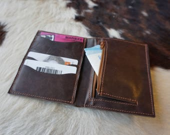 Brown wallet; men's wallet. leather wallet. portfolio