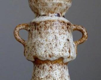 Vintage 1970's VEST KERAMIEK Gouda van Woerden Fat Lava Vase Dutch Pottery Art