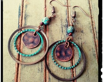 Mixed Metal Earrings - Long Hoop Dangle Earrings • Hammered Copper//Bronze//Turquoise Patina//Jasper Stone Bead • Modern Bohemian