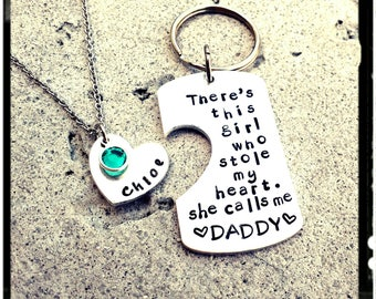 Daddy & Daughter Keychain/Necklace Set • Hand Stamped Dog Tag w/ Heart/Name Necklace/Swarovski Birthstone/Stainless/Aluminum - Father's Day