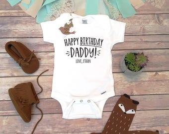 Happy Birthday Daddy Onesie®, Daddy Onesie, Birthday Gift for Husband, Dad Onesie, New Dad Gift, Happy Birthday Gift from Baby,I Love My Dad