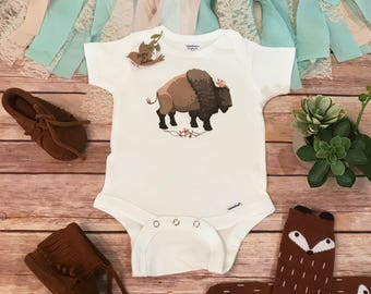 Boho Baby Clothes, Buffalo Baby Onesie®, Baby Shower Gift, Baby Girl Clothes, Bohemian Baby Clothes, Cute Baby Clothes, Hippie Baby Bodysuit