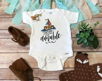 Captain Adorable Onesie®, Baby Shower Gift, Baby Boy Clothes, Baby Boy Onesies, Funny Onesies, Boat Onesie, Cute Baby Onesies, Hipster Baby