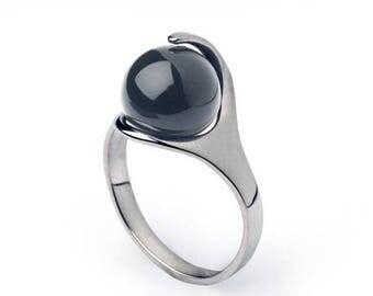 SALE 20% Off - RA Hematite Ring, Egyptian Ring, Sterling Silver Hematite Ring, Black Stone Ring, Healing Crystal Ring, Hematite Jewelry