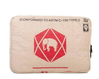 Upcycling 13-inch laptop sleeve laptop bag notebook case from cement and rice sack (motive: elephant new beige-red)