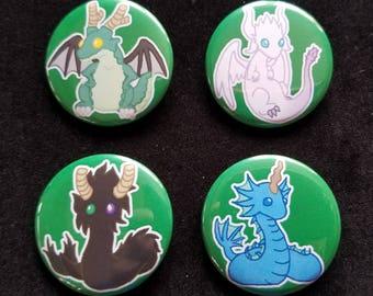 Dragon Maid Buttons - Tohru - Kanna - Lucoa - Elma - Miss Kobayashi's Dragon Maid - Dragon Buttons - Buttons