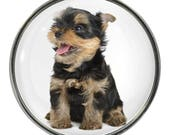 Yorkshire Terrier Puppy Image On Metal Pin Badge