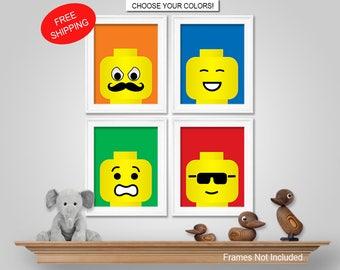 Lego Wall Art lego bedroom | etsy