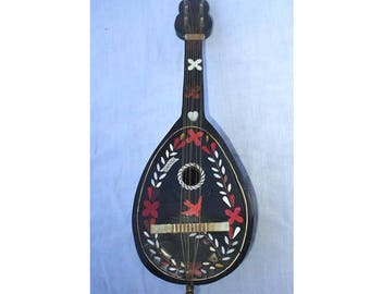 Vintage Signed Mandolin Music Box Made In Italy - Authentic