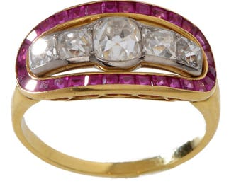 18 KT. Yellow Gold Diamond and Ruby Ring