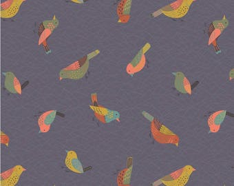 Lewis And Irene Fabric The Hedgerow Hedgerow Birds On Warm Grey A253.3