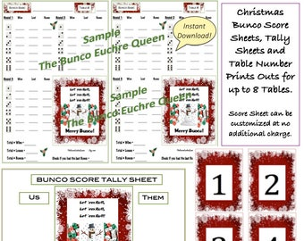 Halloween Bunco Score Cards Tally Sheets & Table Numbers /