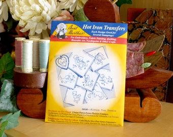 Aunt Martha's Hot Iron Transfers #3606 Kitten Tea Towels