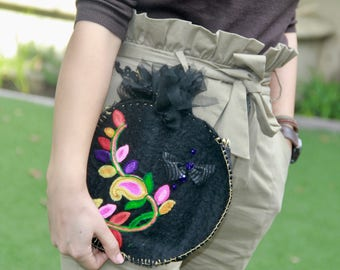 """Anar Clutch """"Black Swan"""" Semi Precious Stones, Wool Lace Felted Unusual Floral Black Two Sided Persian Pomegranate Hand Sewn"""