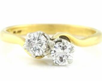 "Art Deco 0.50ct 18ct Gold ""Toi et Moi"" Twin Diamond Ring - Art Deco Diamond Engagement Ring"