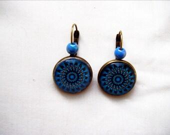 Beautiful blue mandala earrings
