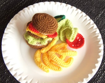Self-crochet Hamburger with French fries and salad