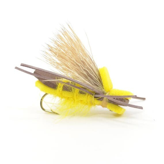 Yellow Godzilla Foam Body Grasshopper Dry Fly Fishing Fly  - Hook Size 12 - Hand Tied Trout Flies