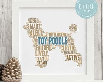 Printable Personalised Toy Poodle Print For Dog Lovers | Personalized Word Art | Bespoke Gift | Digital File | Print Yourself