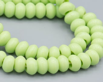 "32 Vintage Light Green Glass Big Hole Rondelle Beads on 8"" Strand"