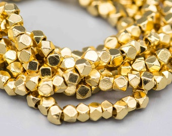 """22k Gold Plated 4mm Faceted Cornerless Cube Beads 200 on a 24"""" Strand SKU-MCC422K-198"""