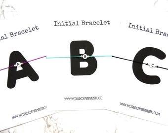 Initial bracelet - Alphabet letter friendship bracelet - adjustable string bracelet - personalized men or woman initial bracelet