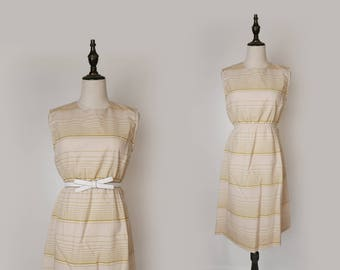 Beige Vintage Women Dress Yellow Paid 1980s Bow-tie Collar Sleeveless Size S / M