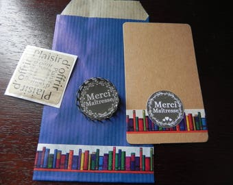 """Brooch """"Thank you teacher"""" cabochon resin 25 mm with gift packaging and thank you card"""