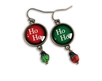 Ho Ho Ho  Holiday Earrings in Red and Green- red and green Christmas Earrings
