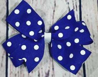 Polka dots blue bow