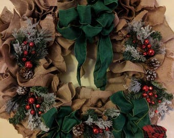 24 inch  burlap wreath.