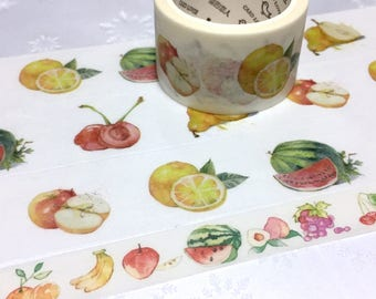 Fruit washi tape 7M x 3cm mixed fruit cherry orange watermelon apple masking tape yummy fruit party decor sticker wide tape fruit theme