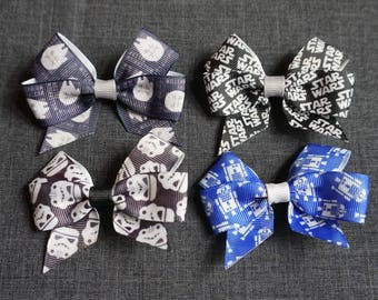 "Star Wars Inspired 3"" Hair Bow/Clip Set - R2D2, Han Solo, Millennium Falcon, Storm Troopers"